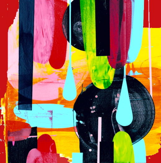 Rollover 2, Acrylic paint, enamel paint and ink on wood panel, 20 x 20 inches. 2013.