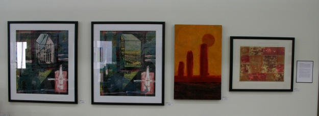 My four works of art on the wall at SDAD for the show.