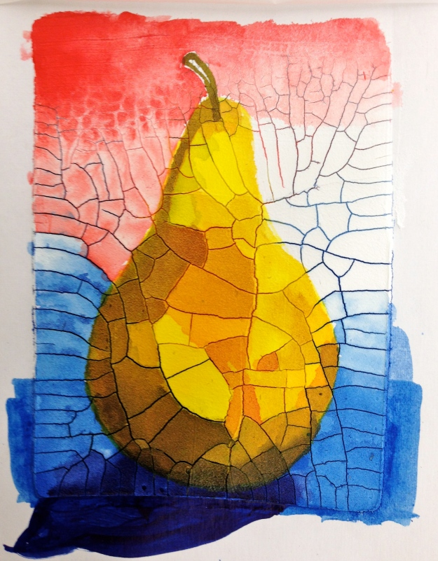 Pear painted on Crackle Paste.