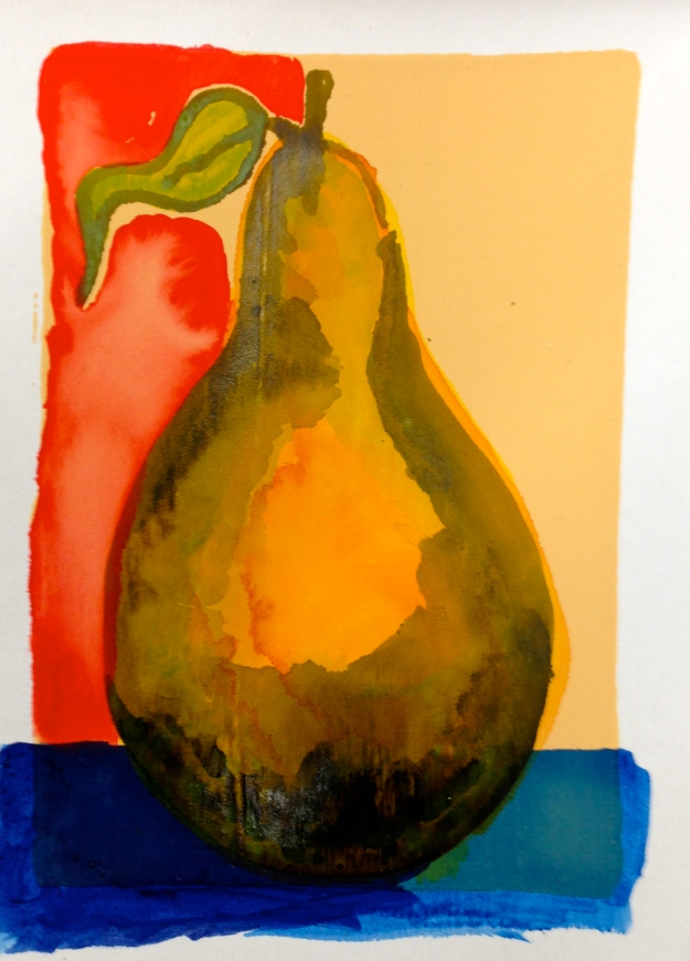 "Pear painted on Absorbent Gound, aka ""Liiquid Watercolor Paper"" and in this case tinted with fluid Quinacridone Nickel Azo Gold."