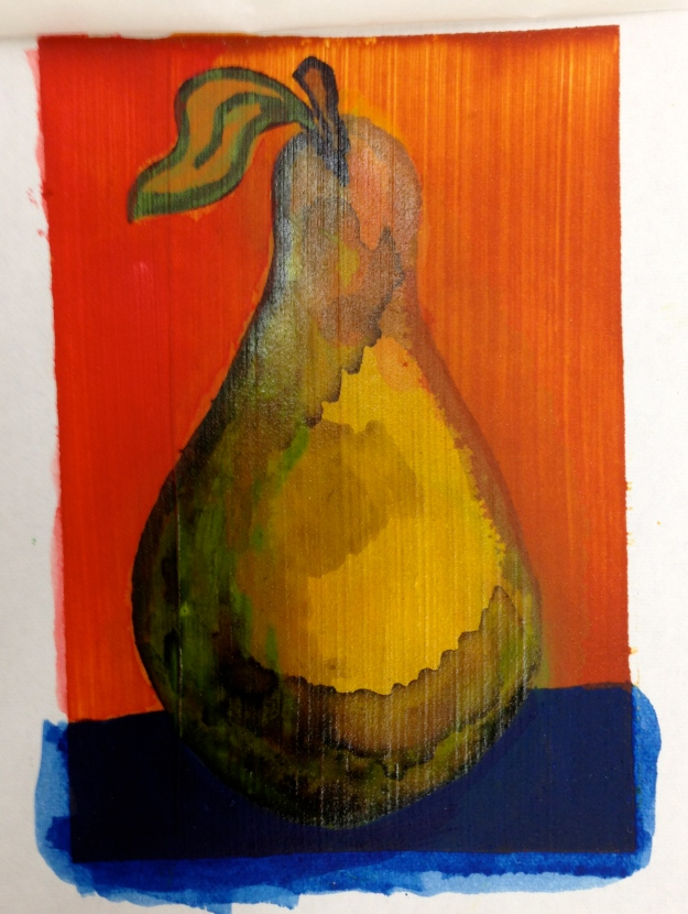 Pear painted on Acrylic Ground for Pastels. This was also tined with one of my favorite colors Quinacridone Nickel Azo Gold.
