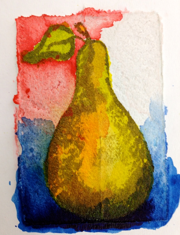Pear painted on Fiber paste.