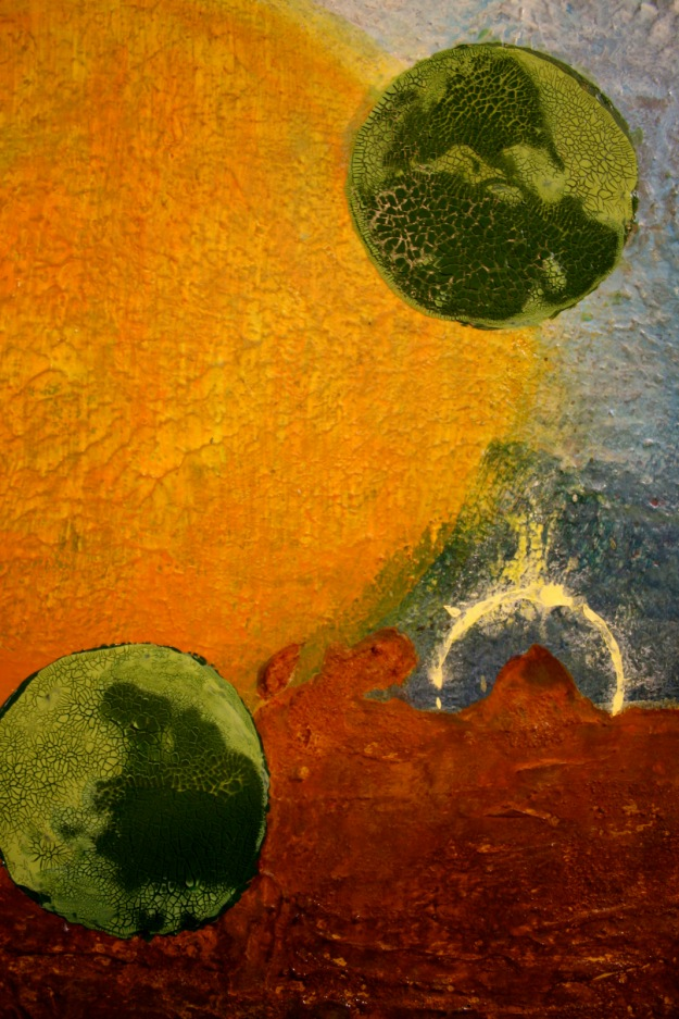 Detail showing the various textures and the start of the thin encaustic layers.