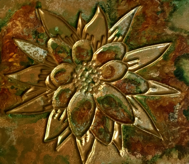 Another bas-relief created with GOLDEN Extra Heavy Gel and painted with Iridescent Bronze, a number of GOLDEN Fluid paints were used to create the aged patina.